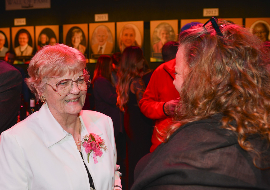 Justin Sheely | The Sheridan Press<br /> Honoree Reta Onstott visits with guests during the annual Keystone Awards Thursday at the WYO Theater. This year's honorees were Reta Onstott, Forrest and Jacomien Mars and Jim Wilson.