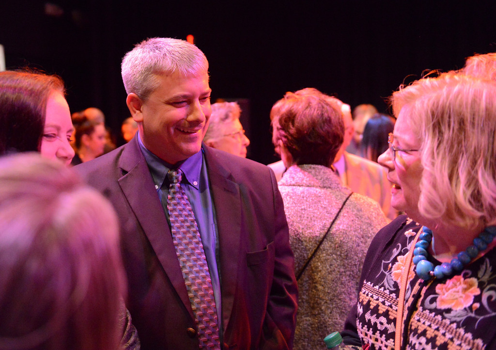 Justin Sheely | The Sheridan Press<br /> Mayor Roger Miller visits during the annual Keystone Awards Thursday at the WYO Theater. This year's honorees were Reta Onstott, Forrest and Jacomien Mars and Jim Wilson.