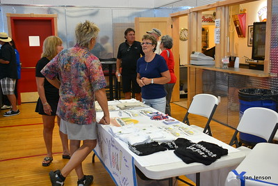The Southwest Surfers merchandise table @ Riverdale, ND Ambulance Squad annual fundraiser at Riverdale High Lodge - 7-15-17
