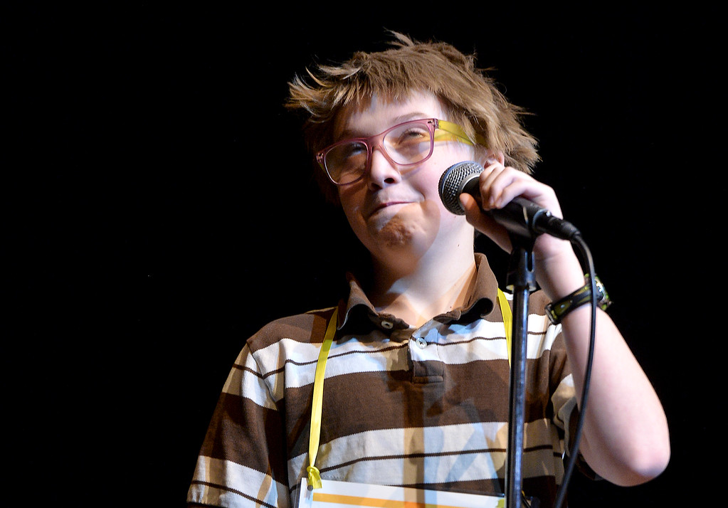 "Justin Sheely | The Sheridan Press<br /> Ethan Milne thinks about the word ""anesthesia"" before answering to win the contest during the 2017 Sheridan County Spelling Bee hosted by Century 21 BHJ Realty Saturday at the WYO Theater."