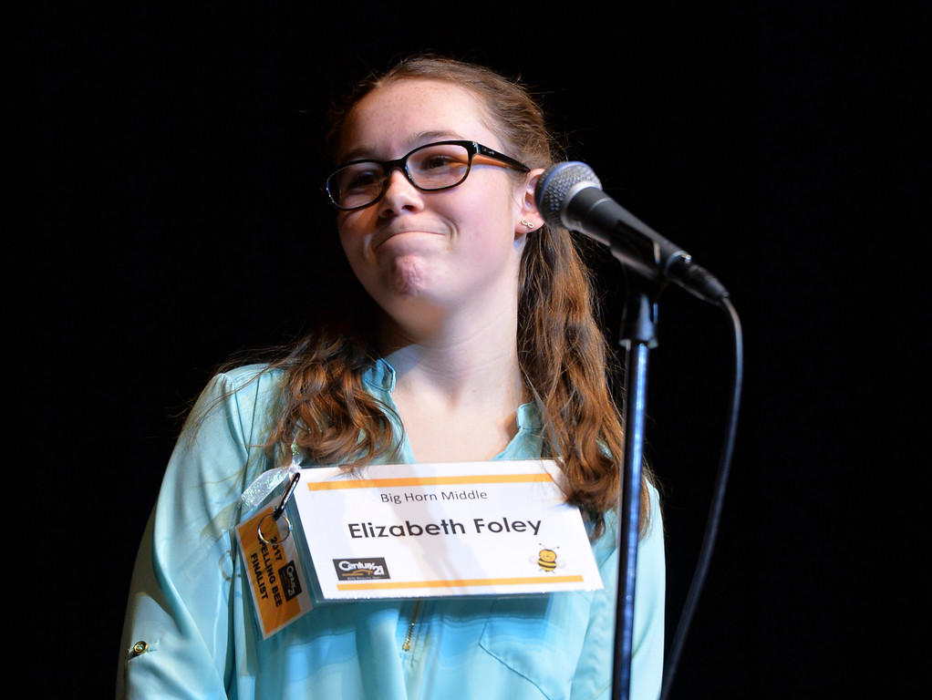 Justin Sheely | The Sheridan Press<br /> Big Horn Middle School student Elizabeth Foley reacts after being told she misspelled a word during the 2017 Sheridan County Spelling Bee hosted by Century 21 BHJ Realty Saturday at the WYO Theater.