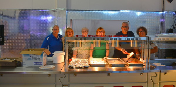 The serving crew @ Riverdale, ND Ambulance Squad annual fundraiser at Riverdale High Lodge - 7-15-17