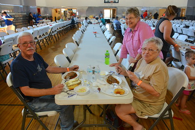Early diners @ Riverdale, ND Ambulance Squad annual fundraiser at Riverdale High Lodge - 7-15-17