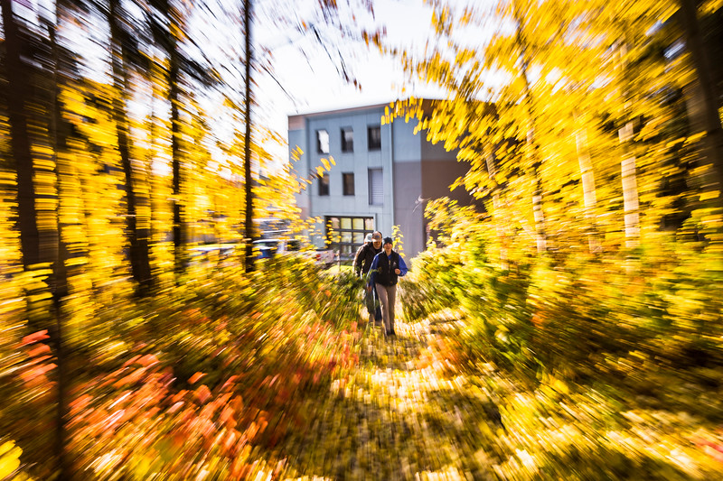 Members of the UAF rifle team walk toward the Wood Center during an autumn afternoon at the Fairbanks Campus.
