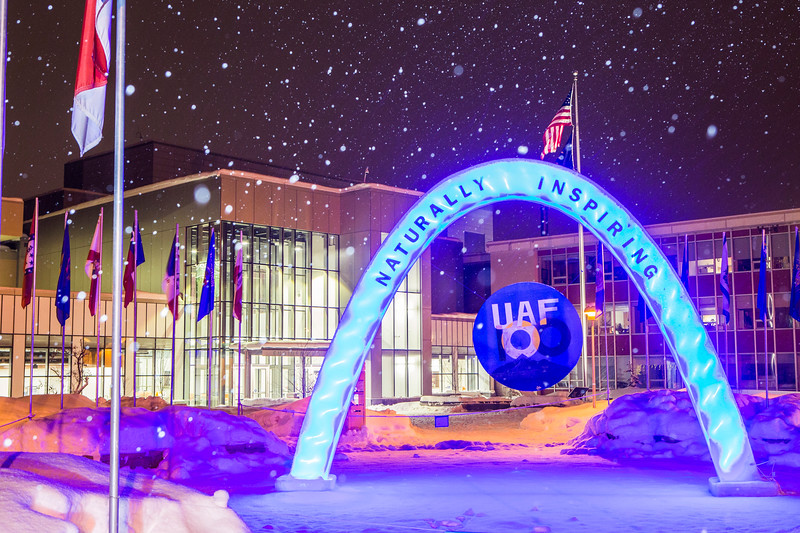 The 2017 ice arch stands temporarily at the Cornerstone Plaza on the Fairbanks campus. The arch was constructed by a team from the Associated General Contractors / American Society of Civil Engineers student chapter and was sponsored by AGC/ASCE, Spenards Business Supply and the GHEMM Company.