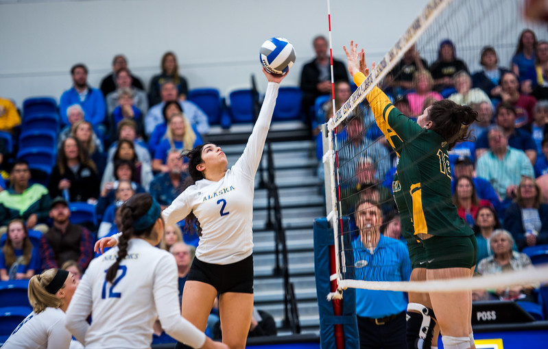 Gabby Lerma hits the ball during the Nanooks match against the University of Alaska Anchorage on Sep. 12, 2017. The loss ended the Nanooks 7-game winning streak.