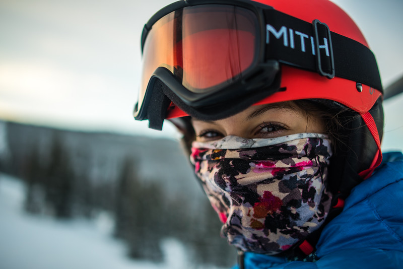 University of Alaska student Katherine Stark poses for a portrait while riding the chairlift at Skiland. Beginning in 2016, all UAF students were allowed to ski for free at the ski park.