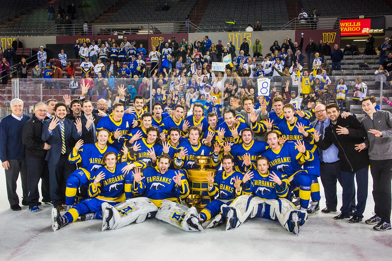 Alaska Nanooks men's hockey players celebrate their eighth consecutive title after securing the 2017 Alaska Airlines Governor's Cup with a win over the UAA Seawolves on Feb. 25 at Anchorage's Sullivan Arena. (The 2010-2012 titles were vacated, so official records count this as the fifth consecutive title.)