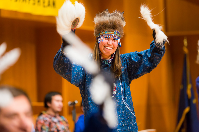 Wildlife and conservation biology student Roberta Walker, from Unalakleet, dances with other members the Iñu-Yupiaq Dance Group during the 2017 Festival of Native Arts at the Davis Concert Hall.