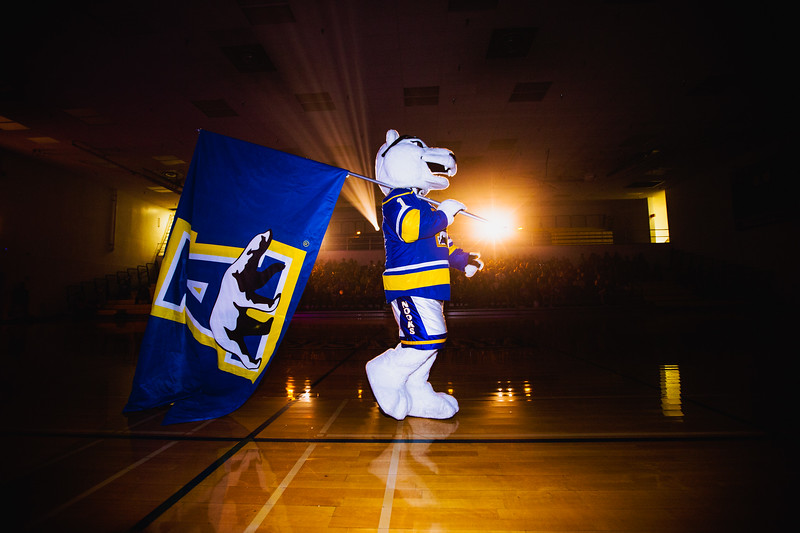 The Nanook walks across the Patty gym on the night of Aug. 22 during Orientation Kickoff.