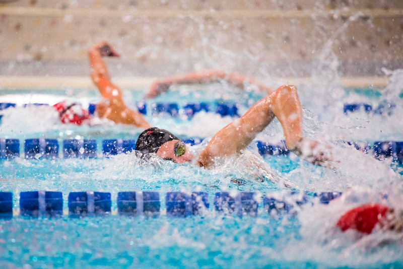 Swimmer Katherine Stark races down the pool during the 100-yard freestyle, an even that she won. The Nanooks won on both Friday and Saturday against Dixie state.