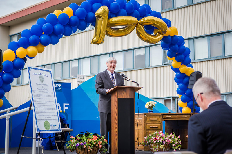 Chancellor Dana Thomas commemorates UAF's 100th anniversary May 3 in Centennial Square. On the same date in 1917, Territorial Gov. John Strong signed the bill to create the Alaska Agricultural College and School of Mines, precursor to the University of Alaska and UAF.
