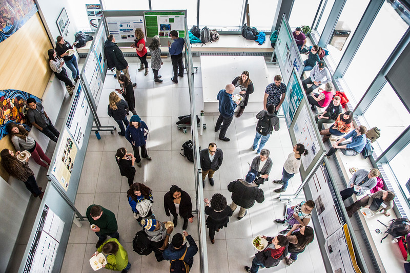 UAF Biomedical Learning and Student Training researchers present their scientific posters on Tuesday, March 28, in the Murie Building lobby at the Fairbanks campus.
