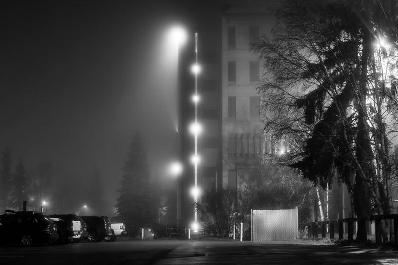 A thick fog blanketed campus and the Fairbanks area Friday, October 13, 2017.