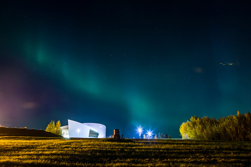 The aurora dances above the UA Museum of the North on a mid-September morning.