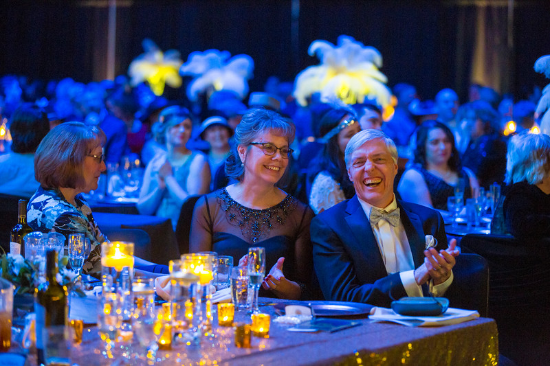 UAF Interim Chancellor Dana Thomas and wife Kay join students, staff, faculty, and members of the community during the 2017 Blue and Gold Gala event at the Carlson Center. The event raised over $100,000 for student scholarships.