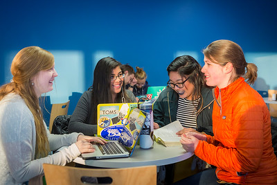 Sara Williams, Maria Isabel Castro, Cellest Bulfa and Grace Bolt study at Arctic Java on Thursday, Feb. 2, in Wood Center on the Fairbanks campus.
