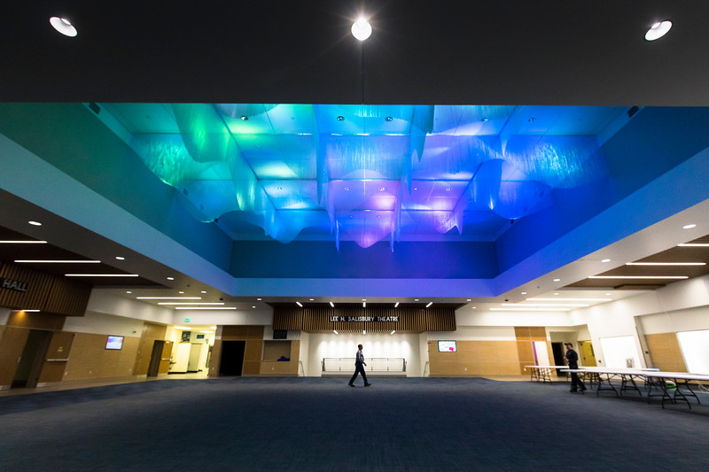 The Regents' Great Hall, on the Fairbanks campus, is now open to the public. The newly refurbished hall features an aurora-like installation on the ceiling.