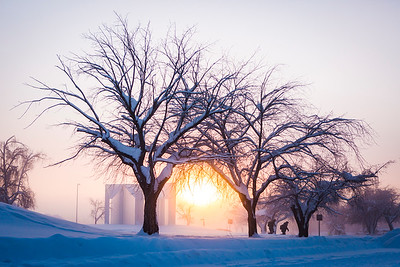 The sun begins to set on January 18, 2017 as temperatures reached forty below on campus.