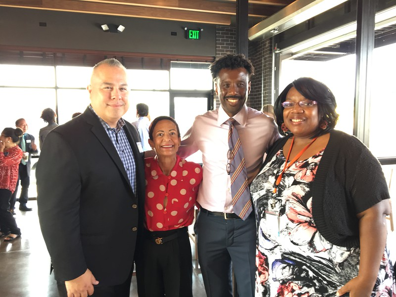 Tony Pisa (Starbucks Regional Vice President), Maria Chavez Wilcox, Rodney Hines (Starbucks Director of US Social Impact), and Alicia Crank