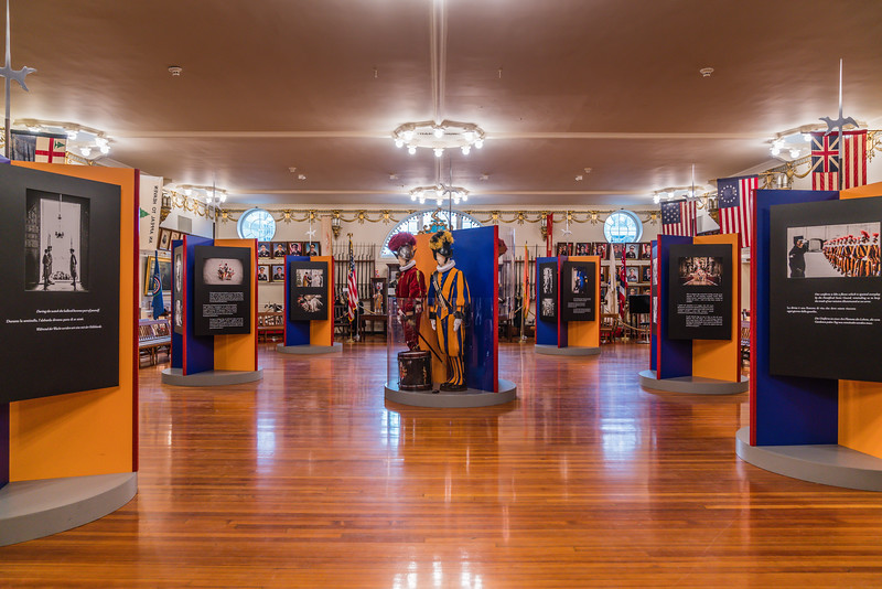 Life of a Swiss Guard exhibit fills the 4th Floor Museum of the Ancient and Honorable Artillery Company at Faneuil Hall.