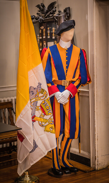 Famous Swiss Guard uniforms on display