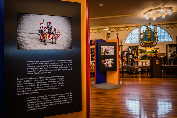 Exhibit displays include stories of the Swiss Guard committments.