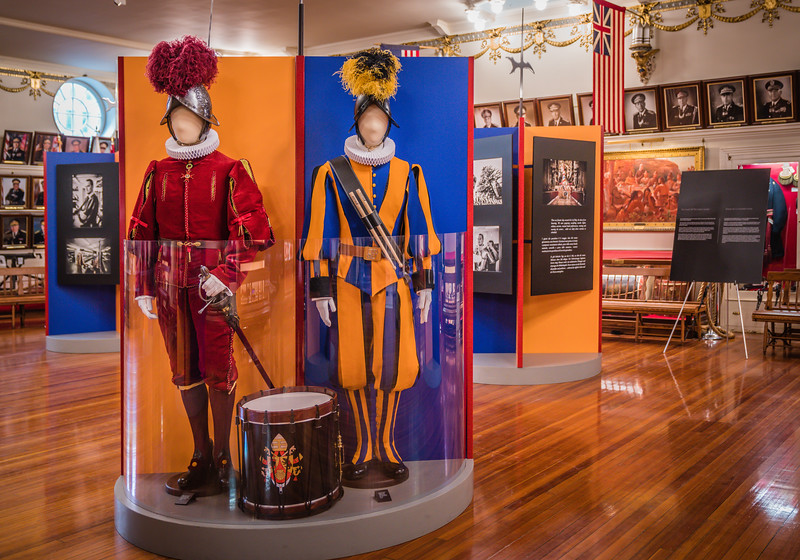 As with the Swiss Guard itself, the exhibition is filled with colorful displays.