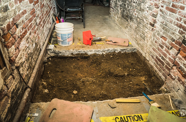 One of four dig sites in the crypt under Old North Church