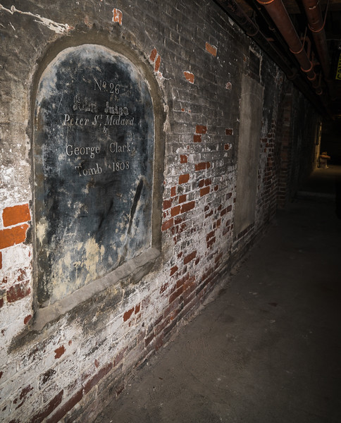 Tomb #26 going back to 1808 in the crypt under Old North Church. The archeological dig is examining the area under the walkway around the tombs.