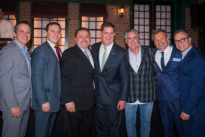 (L-R) State Rep. Aaron Michlewitz, State Sen. Joe Boncore, Il Molo's Donato Frattaroli, Mayor Marty Walsh, NESN's Billy Costa, NEW Health CEO Jim Luisi and City Councilor Sal LaMattina