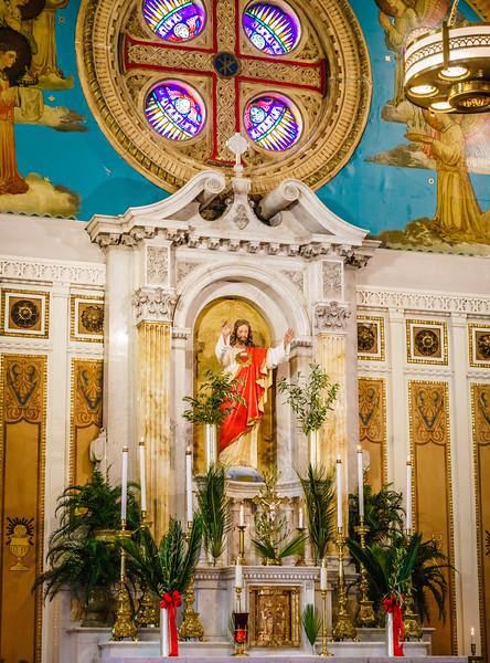 Sacred Heart Church alter on Palm Sunday