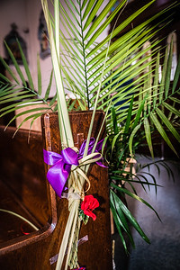 Palm on the church pew