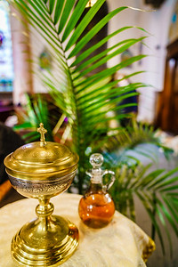 Holy eucharist on Palm Sunday at Sacred Heart Church in Boston's North End