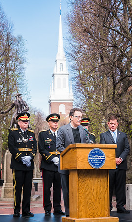 Old North Church Rev. Stephen T. Ayres at the Patriot's Day ceremony on the Paul Revere Mall