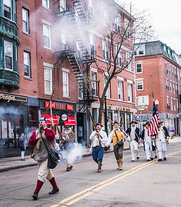 Gunshots on Hanover Street with the colonial militia in the Patriot's Day parade