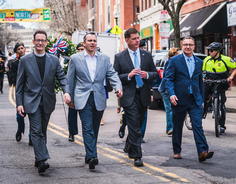 Patriot's Day Parade on Hanover Street with Boston Mayor Marty Walsh (2nd from right), City Councilor Sal LaMattina (right), State Rep. Aaron Michlewitz (center) and Old North Church Vicar Stephen Ayres