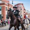 Orders in hand, Paul Revere rides down Hanover Street in the annual reenactment