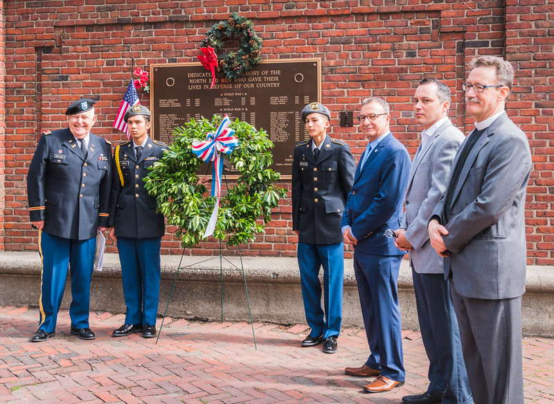 Wreath laying at the Veteran's Monument on the Paul Revere Mall