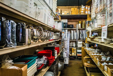Shelves of restaurant supplies