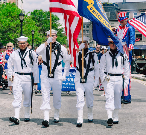 US Navy color guard leads the Independence Day parade