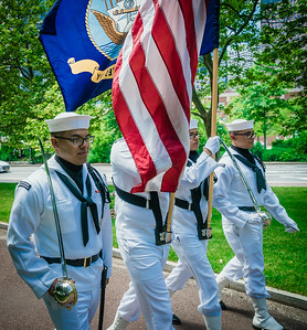 US Navy color guard march in Independence Day parade