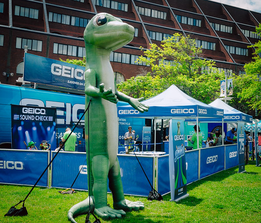 Geico gecko with the karaoke booth for Boston Harborfest