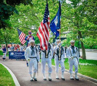 Happy July 4th Weekend! Independence Day parade led by the US Navy color guard and Uncle Sam on stilts!