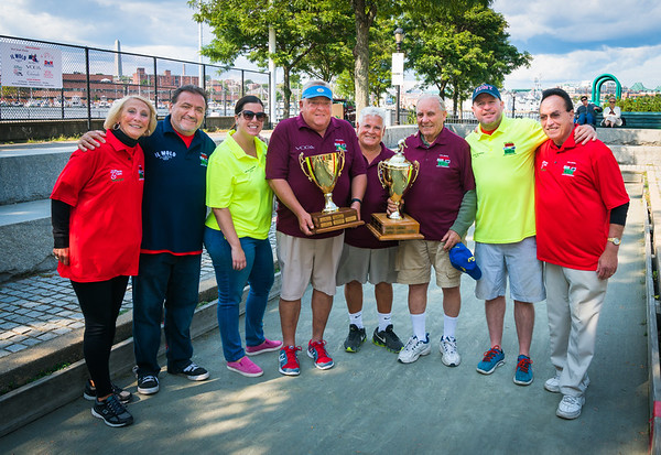 First place winners Natale DeMarco and Matteo Narcia with sponsor Voga Italia's Joe Resti (maroon shirts), Second place Andrea Justin and Henly Dunne (yellow shirts), Third place Peggy and Bob Magri (red shirts) with TONE founder Donato Frattaroli
