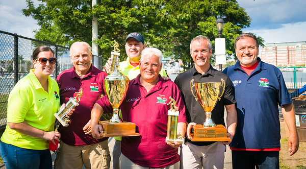 First place winners Natale DeMarco and Matteo Narcia (maroon shirts), Second place Andrea Justin and Henly Dunne (yellow shirts) with TONE founder Donato Frattaroli and City Council candidate Stephen Passacantilli