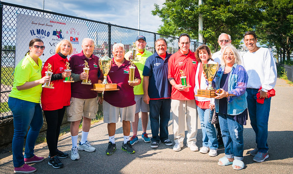 First place winners Natale DeMarco and Matteo Narcia (maroon shirts), Second place Andrea Justin and Henly Dunne (yellow shirts), Third place Peggy and Bob Magri (red shirts), St. Joseph Society sponsors Jim Montarano and Mark Ravanese with TONE organizers Donato Frattaroli, Pamela Donarumma, Pam Modugno