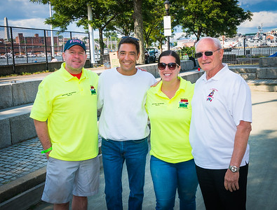 Second place winners Andrea Justin and Henly Dunne (yellow shirts) with St. Joseph Society sponsor Jim Martorano and Mark Ravanese