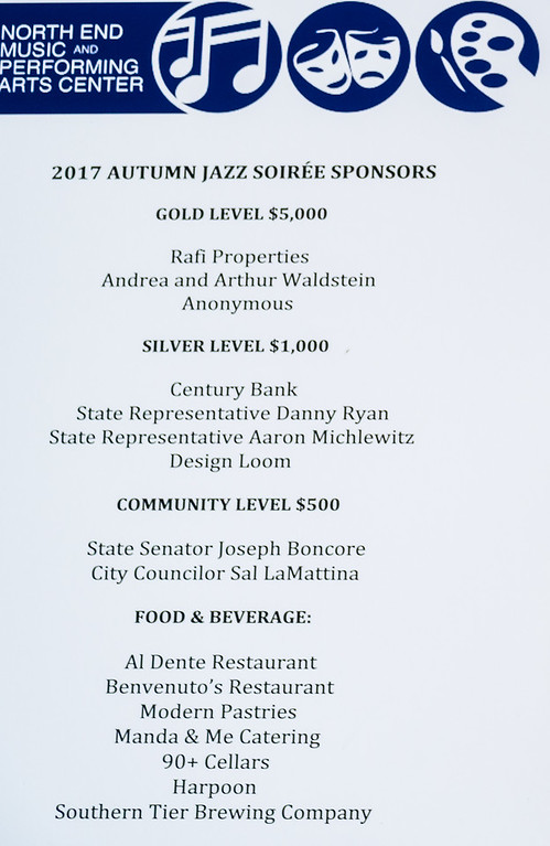Sponsors for the 2017 Autumn Jazz Soirée