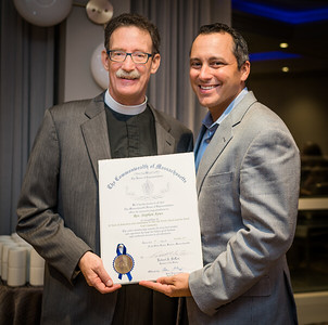 State Rep. Aaron Michlewitz presents citation from the State House to commemorate Stephen T. Ayres 20th Anniversary at Old North Church